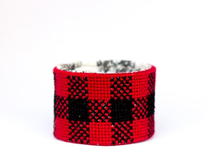 SALE!! DIY Needlepoint Cuff Kit in Buffalo Plaid