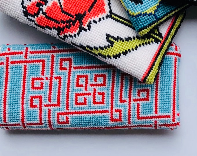 Knotwork Eyeglass Case Needlepoint Kit with Stitch Painted Canvas