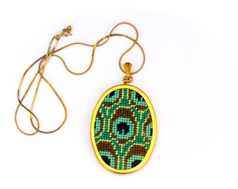 DIY Needlepoint Jewelry Kits: Peacock Pendant