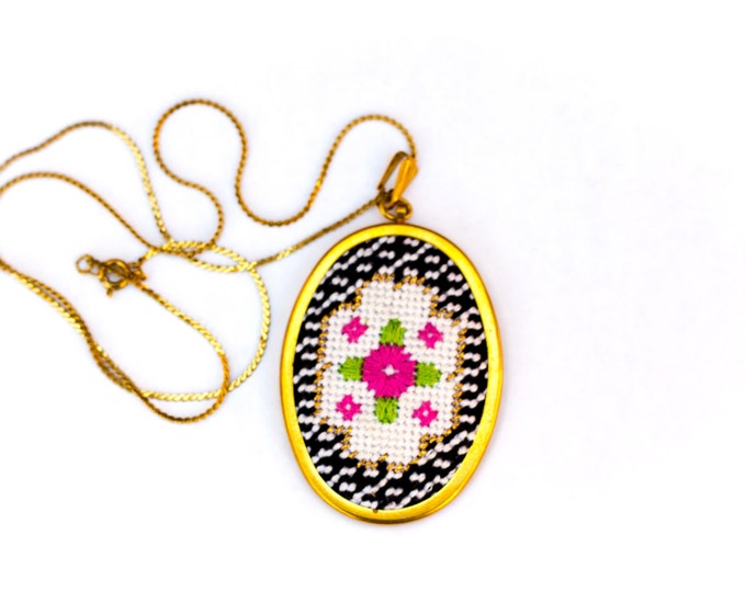 SALE!! DIY Needlepoint Jewelry Kits: Victorian Floral Oval Pendant