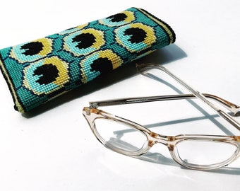 Peacock  Eyeglass Case Needlepoint Kit with Stitch Painted Canvas