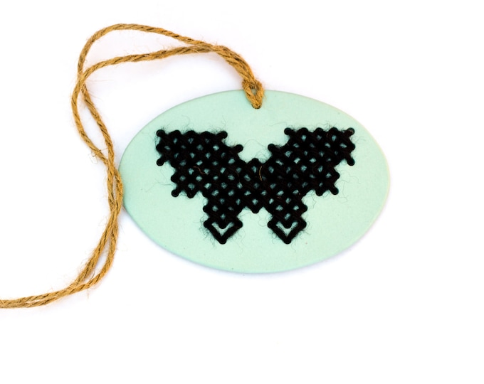 Handmade Stitchable Porcelain Butterfly Ornament
