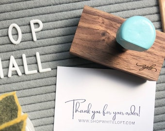 Thank You Rubber Stamp, Website Stamp, Packaging Stamp, Small Business Rubber Stamp, Robins Egg Stamp, Wooden Handle, Self Inking Stamp