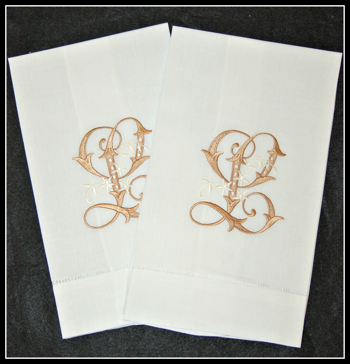 Pair Of Linen Blend Hand Towels Embroidered / Monogrammed