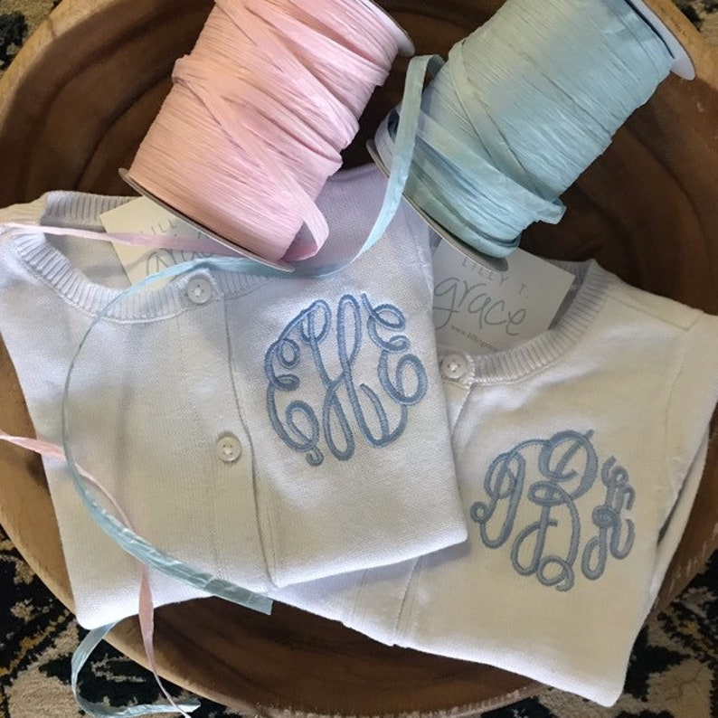 Girls sweater Monogrammed Personalized Embroidered Pink image 0
