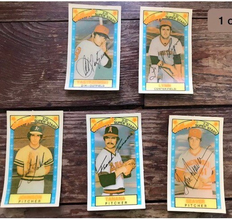 1979 Kelloggs 3 D Super Stars5 Cardsyastrzemski Lynn Seaver Tanana Johnson Lot Of 5 Baseball Cards