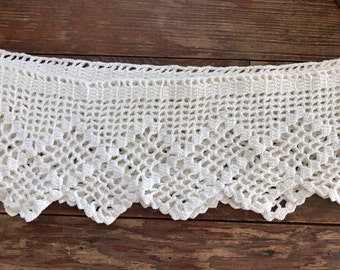 """Vintage / antique crocheted / handmade cream colored lace/ 84"""" x 6"""""""