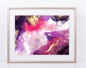 Alcohol Ink Abstract Wall Art, Purple, Pink, and Gold Printable Art, Printable Wall Art, Abstract Art Printable, Abstract Art, Pink Wall Art