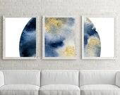 Watercolor Moon Wall Art, Indigo, Gold, Indigo Moon, Moon Art, Large Wall Art, Printable Art, Printable Wall Art, Moon Printable