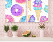 Donut and Ice Cream with Sprinkles - Watercolor Downloadable Art Prints, Large Wall Art, Bright Pink, Blue, and Purple