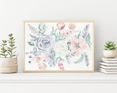 Pastel Florals and Feathers Watercolor Printable, Watercolor Printable, Botanical Wall Art, Flower Watercolor Art, Downloadable Art