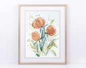 Watercolor Coral Floral Print, Watercolour Printable, Botanical Wall Art, Flower Watercolor Art, Gold Ink, Large Wall Art