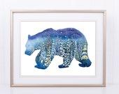Bear Silhouette Watercolor with Snowy Trees, Watercolour Printable, Indigo, Glitter Trees, Dark Blue,Bear Snow, Large Wall Art