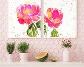 Watercolor Bright Spring Peonies Printable, Watercolor Printable, Botanical Wall Art, Flower Watercolor Art, Gold Ink, Large Wall Art