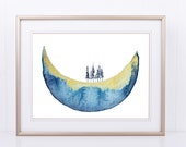 Watercolor Half Moon with Trees, Watercolour Printable, Moon Art, Fir Trees , Gold Ink, Large Wall Art