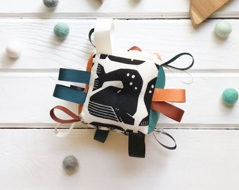 Whale Baby Toy, Esoteric Eclipse Sun & Moon, Plush Block, Ribbons and Rattle, Black and Ivory, Earth Colors, Gender Neutral