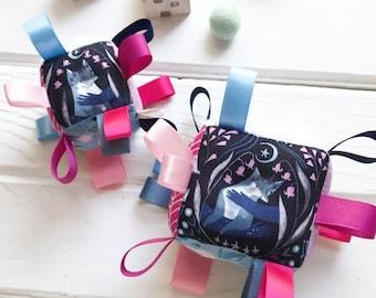 Midnight Fox, Woodland Baby Block, Blue Pink and Purple, Ribbon Baby Toy, Infant Stim, Sensory Baby Block, Woodland Shower Gift, Rattle