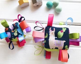 Colorful Llama Baby Block, Plush Sensory Toy, Cacti Block, Blue Purple Pink Coral, Ribbon Baby Block, Rattle