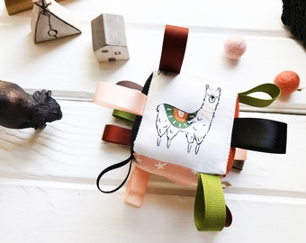 Earthy Llama Baby Block, Cactus Toy, High Contrast, Earth Tones, Blush Pink, Moon and Stars, Black and White, Rainbows, Southwest Baby
