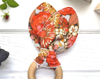 Showy Floral Teething Toy, Large Flower Blooms, Baby Wood Teether, Cotton Fabric, Deep Orange Red Gold Zinnias, Vintage Inspired