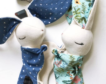 Baby Bunny Lovey, Organic Cotton Fleece, Mint and Blue, Baby Boy Gift, Girl Bunny, Personalized Baby Gift, One of a Kind