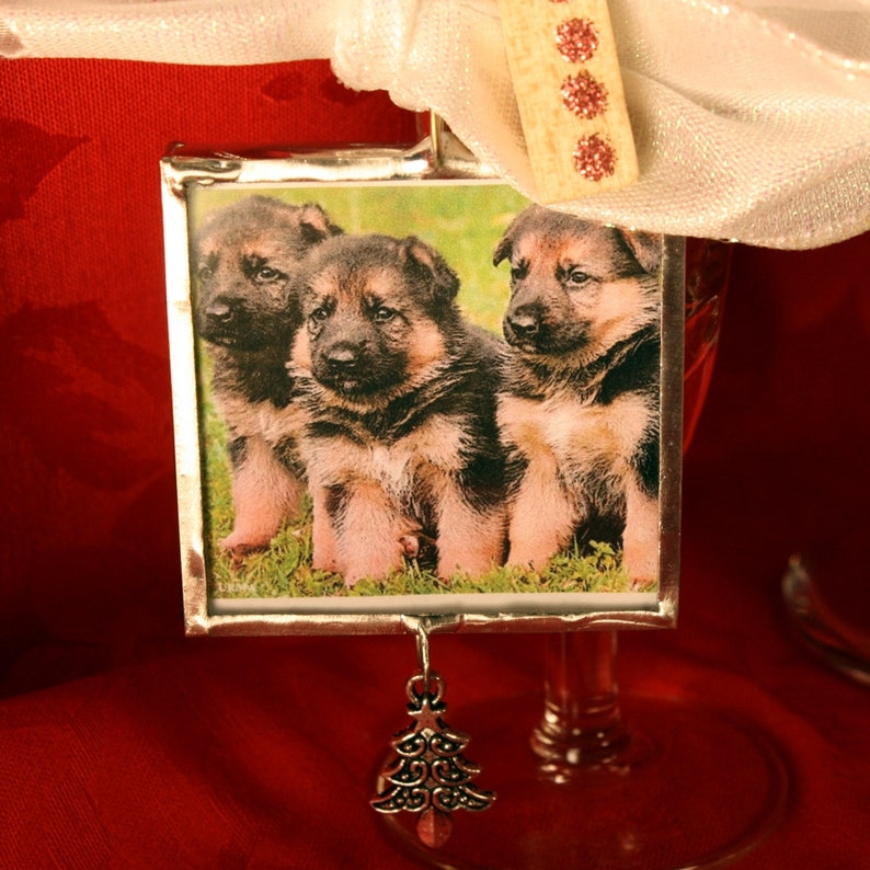 Dog Lover Silver Solder German Shepherd Holidays Dog Ornament Canine Woofy Holidays Puppies Christmas Silver FREE US Shipping