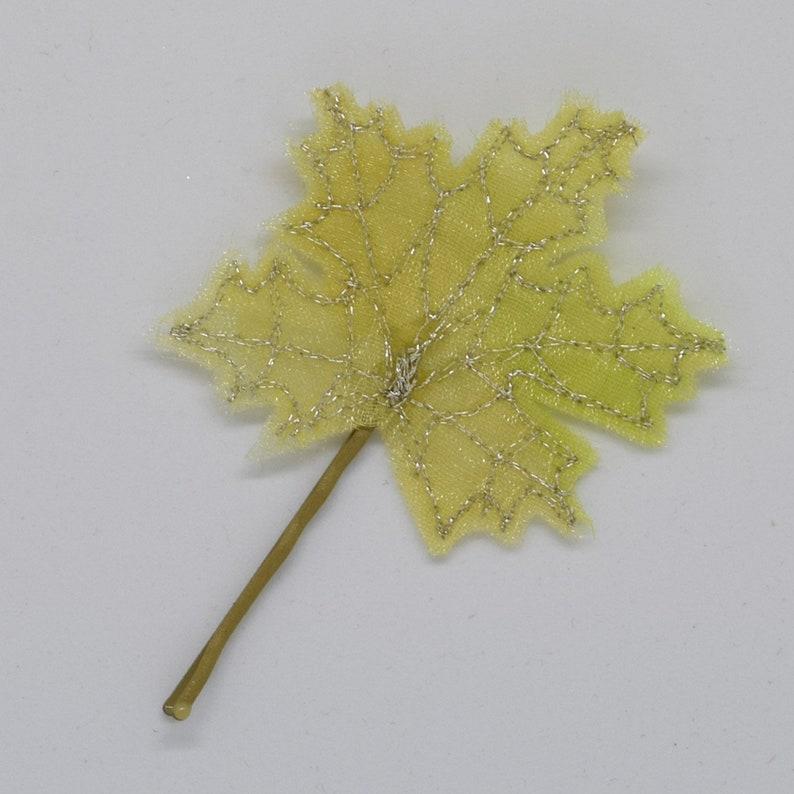 Leaf Hair Clip Boho Wedding Bridal Hair Tree Green Maple Leaves Embroidered Leaf Spring Leaf Hair Slide Quirky Hair Pin