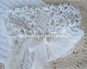 Crochet Aurora Reticule Gown, PDF ePattern, 3 to 12 months Childs Gown