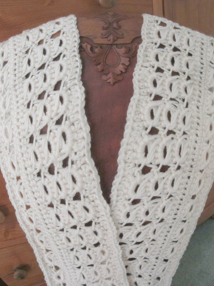 Crochet Luxurious Broomstick Fishermans Lace Scarf Pdf Etsy