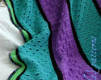 Crochet Emerald Fisherman Afghan PDF ePattern, Jewel Tone colors, 40 inches (102 cm) Square
