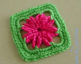 """Crochet Granny Square Flower 3"""" (8 cm) Granny Square, Granny Square Quick PDF Pattern"""