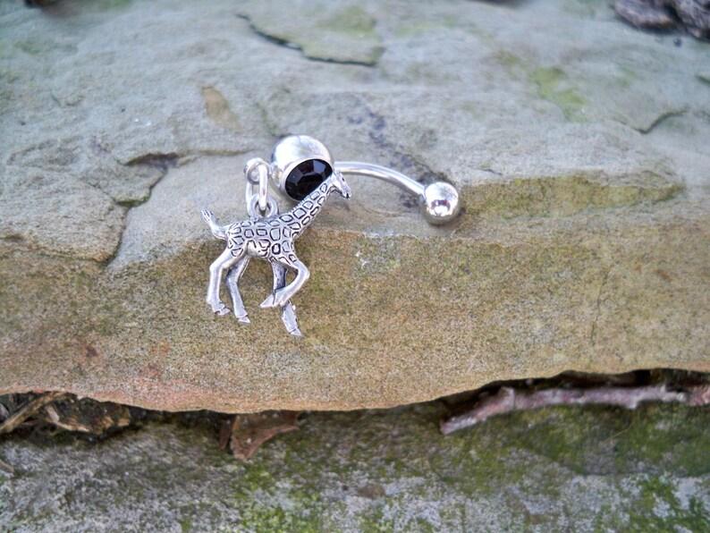 Giraffe Belly Button Ring Black Stone