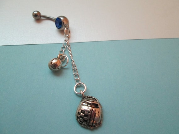 Baseball Belly Button Ring Body Jewelry Belly Ring