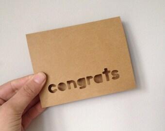 Handmade Greeting Card -- Congrats -- Blank Inside