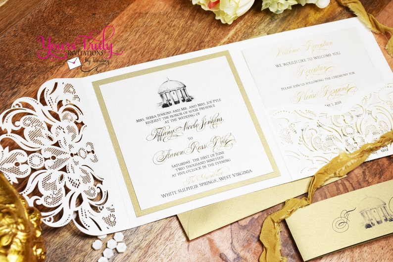 Deposit Greenbrier Springhouse Custom Luxury Wedding Invitation set with gold and ivory lace laser folder and gold foil printing