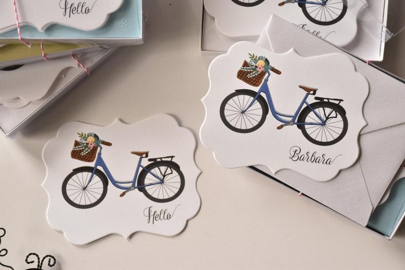 Custom Stationery Vintage Bike Die Cut Note Card Set