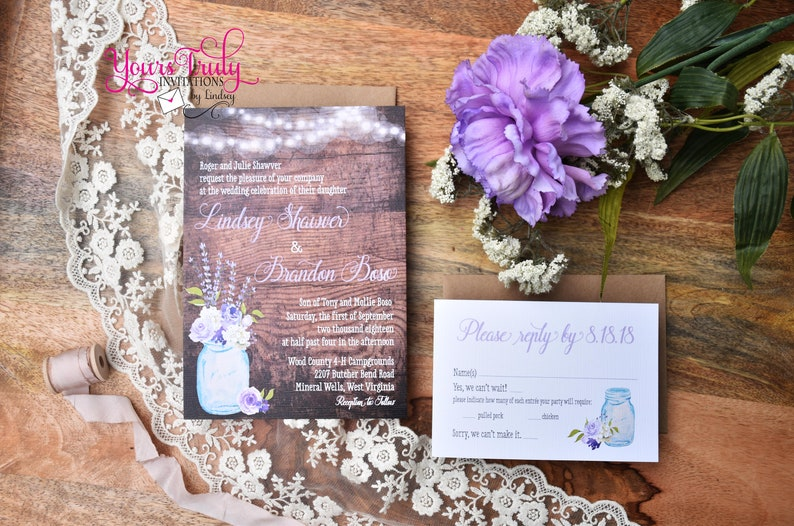 Deposit Woodgrain Rustic Country Blue Canning Glass Jar with Purple Lavender Lilac Flowers and Fairly Lights on woodgrain card stock