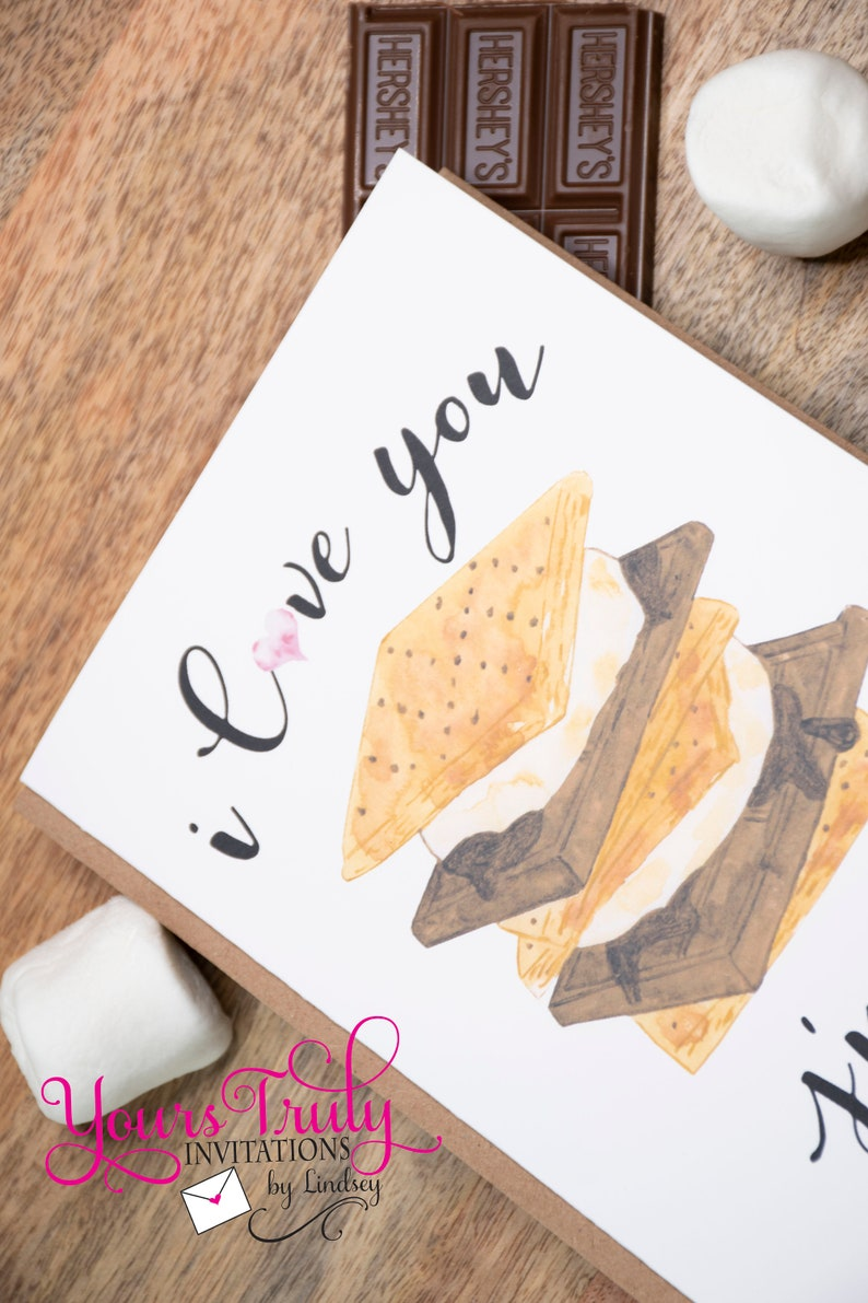 anniversary birthday Mothers Day thinking of you Thinking of You Greeting Card- Note Card I love you S/'more love you just because