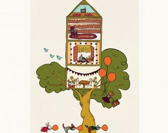Woodland Creatures Treehouse Print - Art Print, Wall Art, Decoration, Woodland Animals
