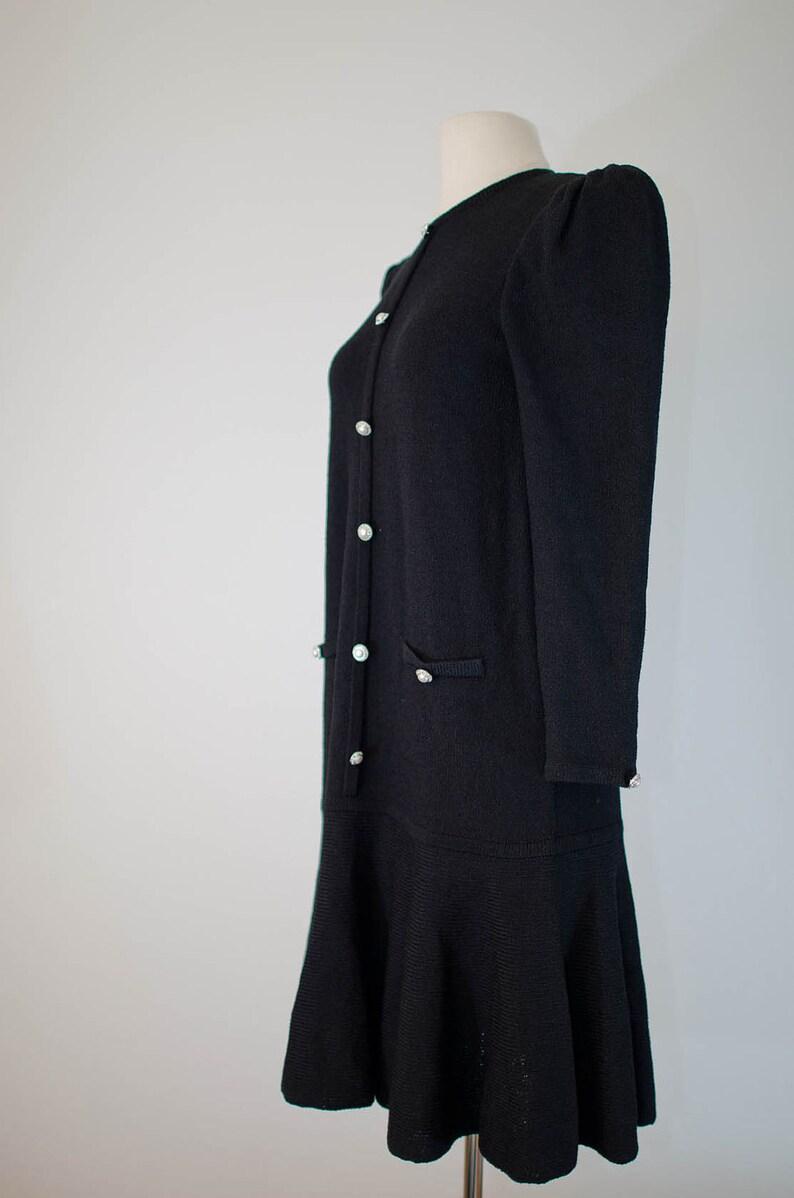 9170060dc05e2 vintage Adolfo for Saks Fifth Avenue black knit dress S M L