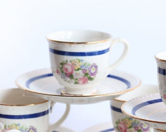 One Homer Laughlin Georgian Demitasse  Cups ~ Espresso / Turkish Coffee / Tea Cups 22kt gold Floral Bouquet