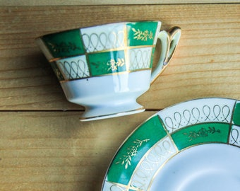 Vintage Green & Gold Demitasse Cup w/ Saucer Deco Style ~ Espresso Turkish Coffee Mini Tea Cups ~ Porcelain China Gift Ideas for Her