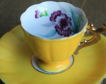 Vintage Yellow Hand Painted Demitasse Cup & Saucer ~ Purple Flowers Gold trim ~ Espresso Turkish Coffee Tea Lover Gift for Her