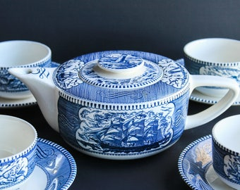 Vintage Royal China Currier & Ives Blue Transferware Teapot, Tea Cups w/ Saucers ~ Colonial Style Stoneware ~ Early American Country Style