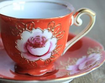 Vintage Hand Painted Demitasse Cup & Saucer ~ Orange w/ Pink Flower Rose Gold Trim ~ Espresso Turkish Coffee Tea Cup ~ Gift Ideas for Her