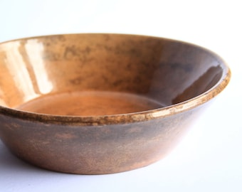 YellowWare Milk Pan Stoneware Pottery Bowl ~ Yellow Ware Antique / Vintage Primitive Early American Earthenware Collectible
