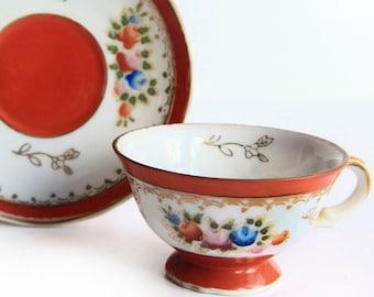 Vintage Demitasse Cup w/ Saucer ~ Mid Century Occupied Japan China ~ Tea / Espresso / Turkish Coffee ~ Orange & Blue Floral Painted Bouquet
