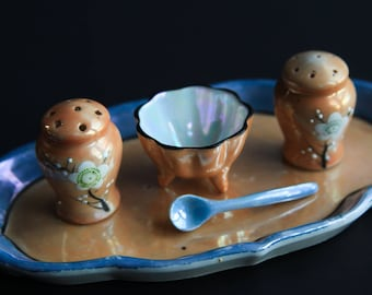 Vintage Hand Painted Salt & Pepper Shakers open Condiment / Salt Cellar ~ Pearlescent / Iridescent / Luster ~ Five Piece Set ~ Retro Dining