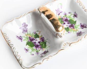 Vintage Norcrest Sweet Violet Trinket Dish & Gold Trim ~ Candy / Relish / Condiments  Divided Tray ~ Porcelain Fine China ~ Cottage Chic