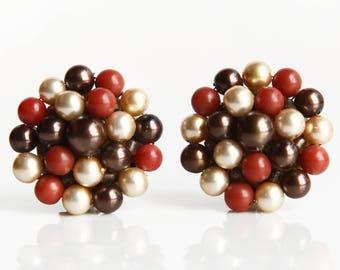 Vintage Brown / Bronze, Sienna, Cream Beaded Earrings ~ Clip on Earrings ~ Retro Costume Jewelry